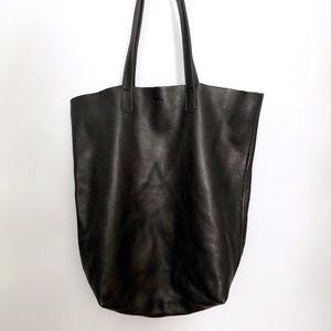 Baggu Black Leather Tote Bag